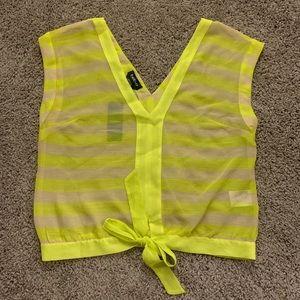 NWT Bebe sheer neon yellow & cream tie-front top